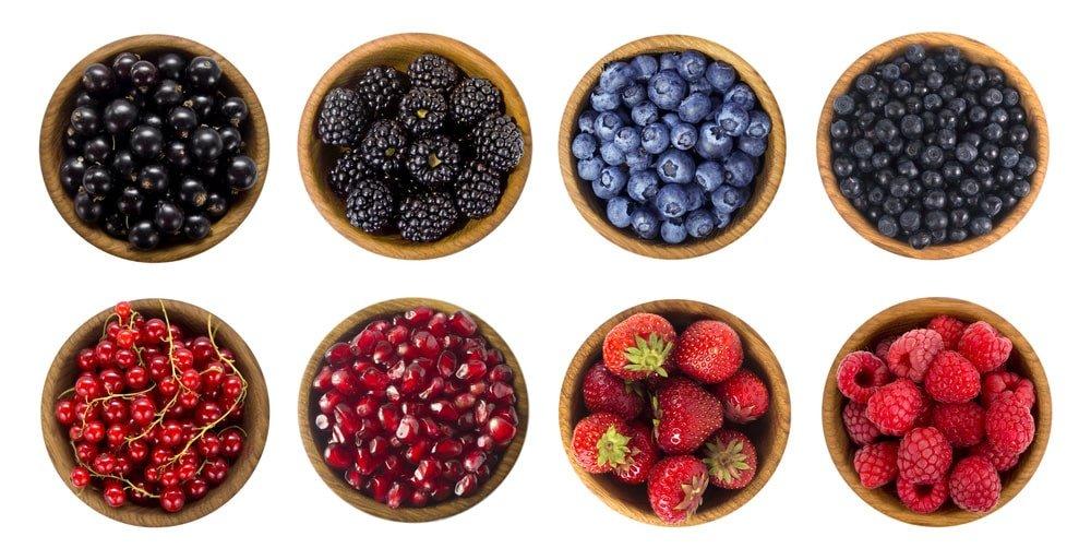 Blueberries raspberries pomegranates